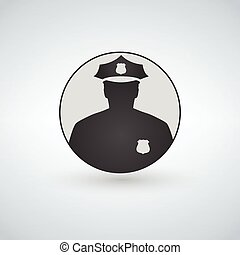 Police officer icon in circle with a shadow