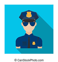 Police officer icon in flat style isolated on white background. Police symbol stock bitmap illustration.