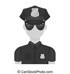 Police officer icon in monochrome style isolated on white background. Police symbol stock bitmap illustration.