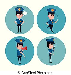 Police officer icons cartoon