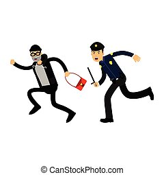 Police officer in a blue uniform with truncheon chasing a thief with stolen bag, colorful characters vector Illustration