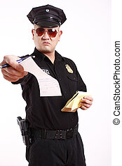 Police officer issuing citation.