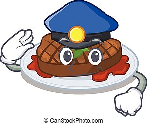 Police officer mascot design of grilled steak wearing a hat...