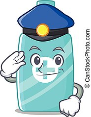 Police officer mascot design of ointment cream wearing a hat...
