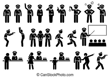 Police officer or policeman poses and actions. - Vector ...