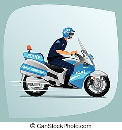 Police officer or policeman riding on motorcycle