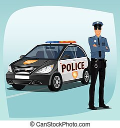 Police officer or policeman with patrol car