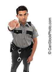 Police officer or prison guard pointing his finger - A...