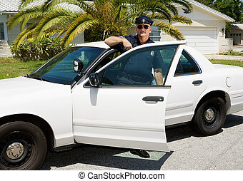 Police - Officer & Police Car - Uniformed law enforcement...