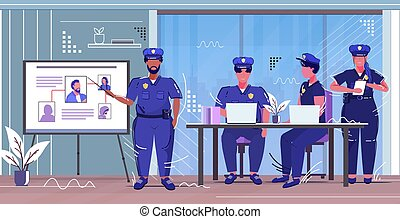 police officer presenting to colleagues information board with thief photo african american policeman in uniform security authority justice law service concept sketch full length horizontal