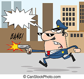 Police Officer Running With A Gun