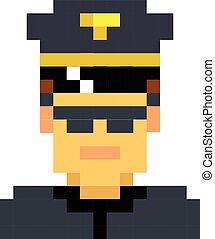 Police officer sheriff cop pixel art cartoon retro game style set