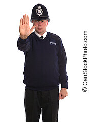 British Police Officer gesturing for you to STOP