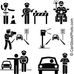 A set of human pictogram representing traffic police officer on duty.