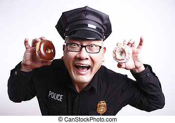 Police officer with donuts