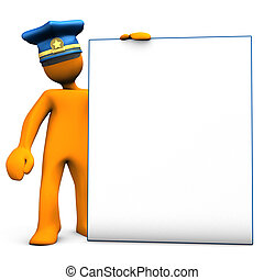 Police Officer With Sign Board