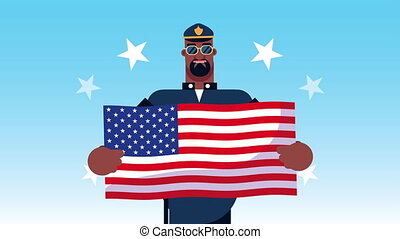 police officer worker with usa flag animation ,4k video animated