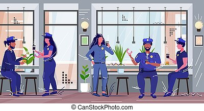police officers eating donuts drinking coffee policemen and ...