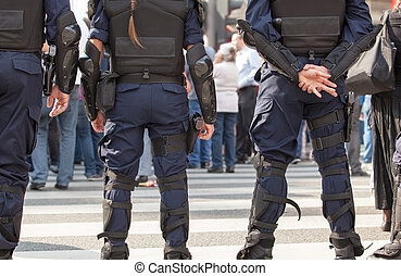 Police officers on duty. Counter-terrorism.
