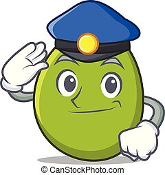 Police olive character cartoon style