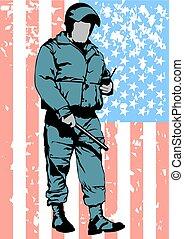 Police on american flag