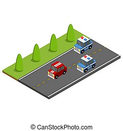 Police on the car chasing the offender. Isometric vector illustration.