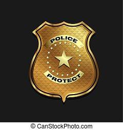 police, or, isolé, arrière-plan noir, écusson