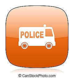 police orange square web design glossy icon