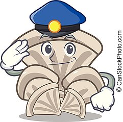 Police oyster mushroom character cartoon