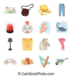 Police, packing, rodeo and other web icon in cartoon style.Animals, education, sports icons in set collection.