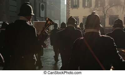 Police Parade Wind Musical Instruments In Europe. Annual Festival, Shows.