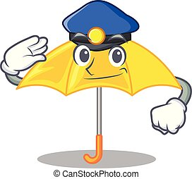 police, parapluie, isolé, jaune, mascotte