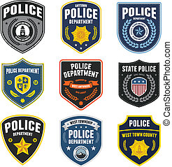Police patches - Set of police law enforcement badges and...