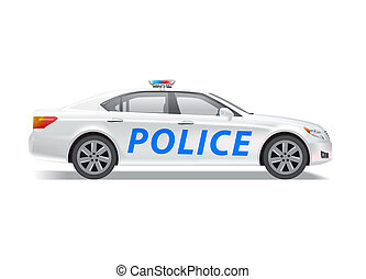 Photo realistic police patrol car isolated on white. Contains transparencies, eps 10 file.