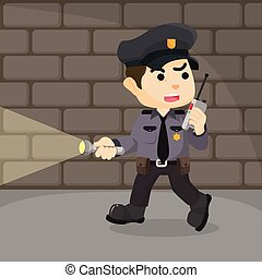 police patrolling in dungeon