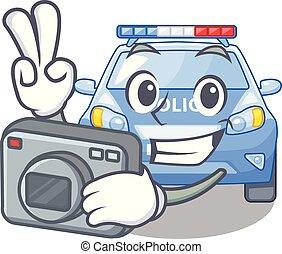 police, photographe, miniature, voiture, table, dessin animé