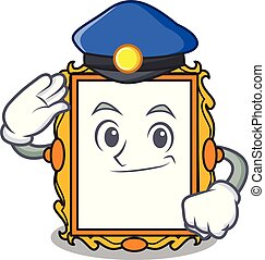 Police picture frame character cartoon vector illustration