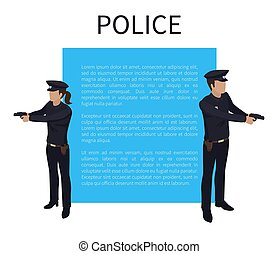 Police Policewoman and Man Vector Illustration - Police...