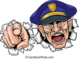police, policier, dessin animé, fâché, officier