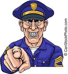 police, policier, dessin animé, officier, ponting, moyenne