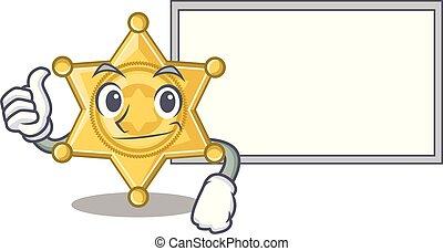 police, pouces haut, isolé, planche, insigne étoile, mascotte