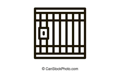 Police Prison Bar Gate Icon Animation. black Police Prison Bar Gate animated icon on white background