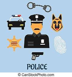 Police profession flat icons and symbols