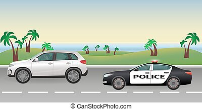 Police pursuit on a road. Police job concept. Police car with flashing lights pursues the offender.