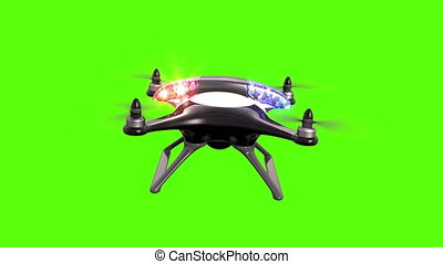 Police quadcopter on a green background, seamless looping 3d...