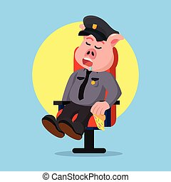 police, quand, graisse, cochon, garder, dormir
