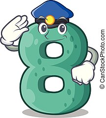 Police raster version cartoon shaped Number Eight