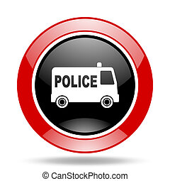 police red and black web glossy round icon