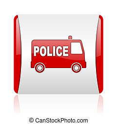 police red and white square web glossy icon