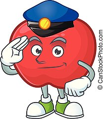 Police red apple cartoon mascot, character cute